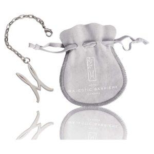 porte-clés métal-luxe-nickel-satin-chainette-bijouterie-bourse-tissu-marquée-majestic